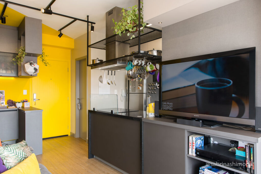 Sala com Ilha da Cozinha
